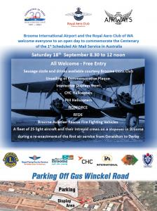 Broome International Airport 100th Centenary Mail Run Open Day