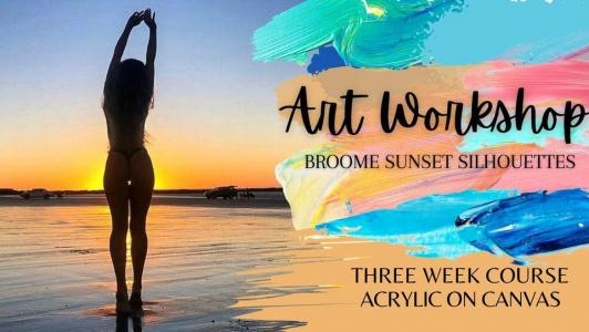 Broome Sunset Silhouettes, Paint & Sip Art Workshop  3x two hour sessions